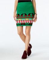 Planet Gold Juniors' Holiday-Print Pencil Skirt