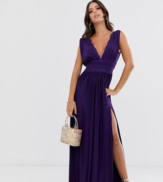 Asos Tall DESIGN Tall Premium Lace Insert Pleated Maxi Dress-Purple