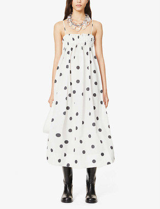 Ganni Polka dot-print recycled-polyester maxi dress