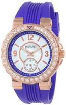 August Steiner Women's AS8081PU Quartz Crystal and Mother-of-Pearl Purple Silicone Strap Watch
