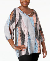 NY Collection Plus Size Strappy Scarf-Print Top