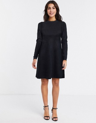 Vero Moda knit skater dress in black