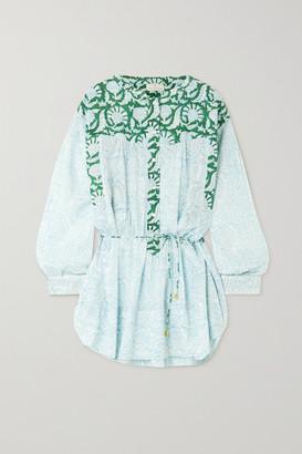 HANNAH ARTWEAR Net Sustain Goa Paneled Printed Cotton Mini Shirt Dress - Green