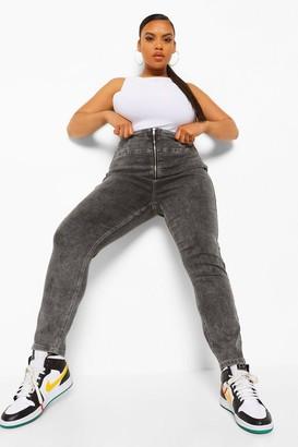 boohoo Plus High Waist Zip Front Jegging