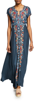 Johnny Was Plus Size Cassie Embroidered Short-Sleeve Maxi Dress