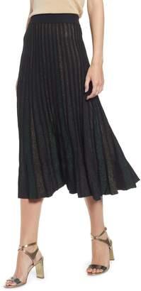 Ming Wang Pleated Shimmer Knit Skirt