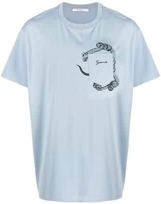 Givenchy snake print pocket t-shirt pale blue