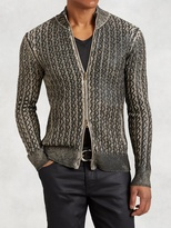 John Varvatos Foil Cable Knit Sweater