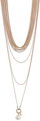 Carolee Kate Gold-Tone Plated Sterling Silver Freshwater Pearl Multi-Strand Statement Necklace