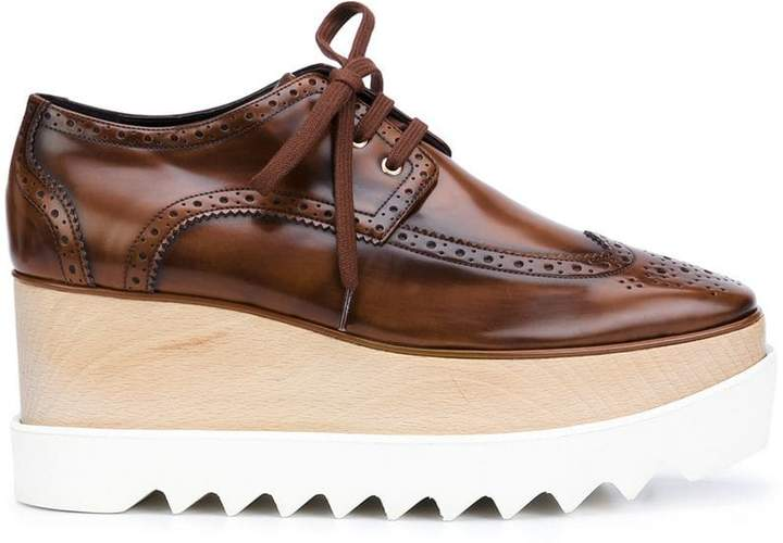 Stella McCartney Brown Elyse 80 platform brogues