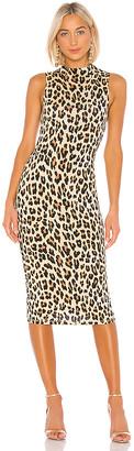 Alice + Olivia Delora Sleeveless Fitted Mock Neck Dress