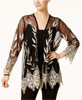 Alfani Embroidered Mesh Cardigan, Created for Macy's