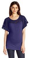 Three Seasons Maternity Women's Maternity Short Sleeve Lace Yoke Solid Top
