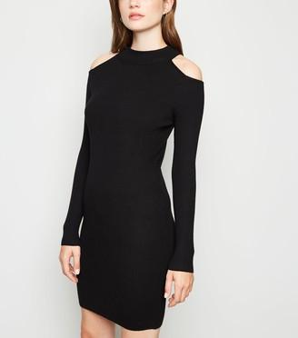 New Look Ribbed Cold Shoulder Mini Jumper Dress