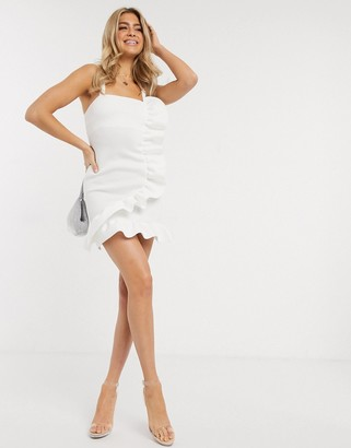 ASOS DESIGN ruffle detail cami mini structured dress