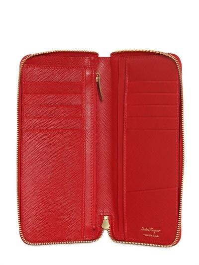Salvatore Ferragamo Saffiano Leather Zip Around Wallet