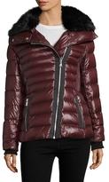Karl Lagerfeld Asymmetrical Zip Faux Fur Puffer Jacket