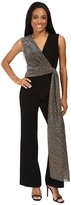 Tahari by Arthur S. Levine Petite Stretch Crepe Jumpsuit with Metallic Wrap Detail