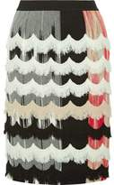 Missoni Frayed Crochet-Trimmed Stretch Wool-Blend Skirt