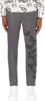 Alexander McQueen Victorian moth-embroidered regular-fit brocade trousers
