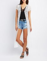 Charlotte Russe Lace Button-Up Cardigan