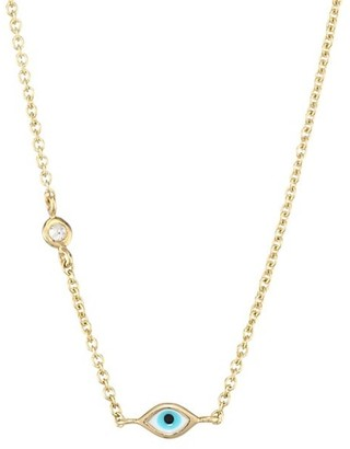 Sydney Evan Evil Eye Diamond & 14K Yellow Gold Pendant Necklace