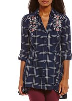 Code Bleu Ries Roll-Tab Sleeve Button Front Plaid Print Embroidery Detail Top