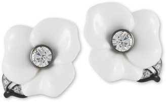 Kenneth Jay Lane White Resin Flower With Leaf -Clip Earring