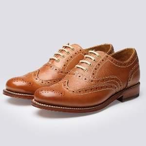 Grenson Rose Tan Leather Brogue - 3 UK - Brown/Leather