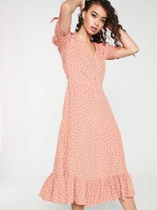 MANGO Polka Dot Frill Bottom Midi Dress - Pink