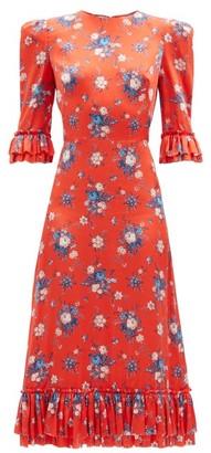 The Vampire's Wife The Falconetti Floral-print Silk Midi Dress - Red Multi