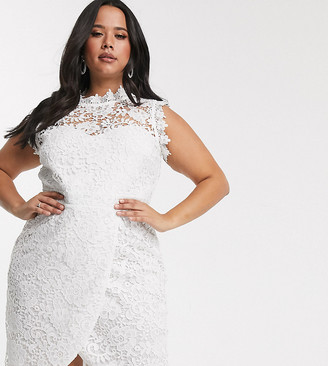 Paper Dolls Plus lace wrap midi pencil dress in white