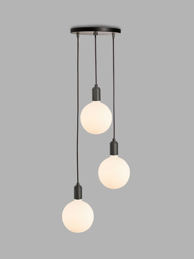 Tala Graphite Triple Pendant Ceiling Light with Sphere IV ES LED Dim to Warm Globe Bulbs