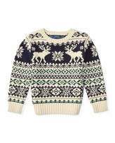 Ralph Lauren Fair Isle Reindeer Pullover Sweater, Cream/Multicolor, Size 2-7