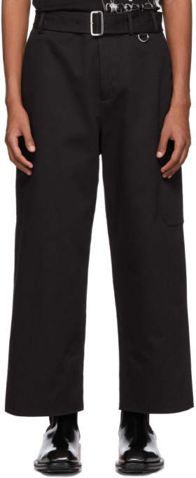 Alexander McQueen Black Wide Belted Cargo Pants
