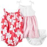 Carter's Baby Girl Henley Dress & Floral Sunsuit Set