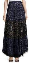 Saloni Karen Pleated Lace Maxi Skirt, Navy