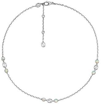 Gucci Interlocking G 18K White Gold & Opal Necklace