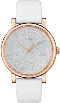 Timex Women's Swarovski Crystal Dial White Leather Watch
