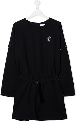 Chloé Kids TEEN logo embroidered belted dress