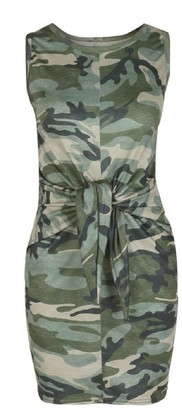 Goodnight Macaroon 'Army' Camouflage Print Front Tied Tank Dress