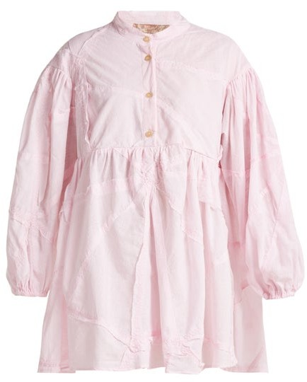By Walid Theresa Patchwork Cotton Shirt - Womens - Light Pink