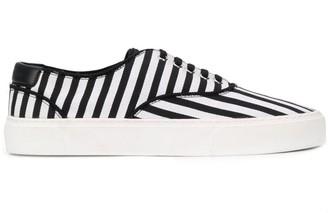 Saint Laurent Striped Lace-Up Low-Top Sneakers