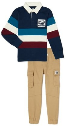 365 Kids From Garanimals Boys Striped Rugby Polo Shirt & Cargo Jogger Pants, 2-Piece Outfit Set, Sizes 4-10