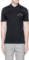 Lanvin Smiley face arrow embroidered jersey polo shirt