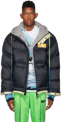 Off-White Navy and Down Scaffolding Zipped Puffer Jacket