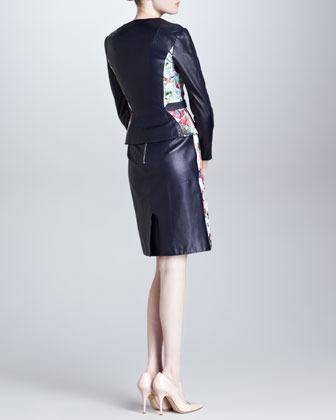 Erdem Floral Leather Dress, Blue/Ecru/Multi
