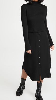 Theory Long Sleeve Combo Dress