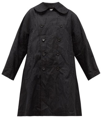 Comme des Garcons Crinkled-moire Double-breasted Coat - Womens - Black