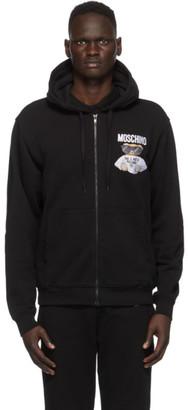 Moschino Black Embroidered Logo Hoodie